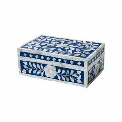Latest Customised Mother Of Pearl Inlay Blue Small Gift Box / Mop Inlay Jewelry Box