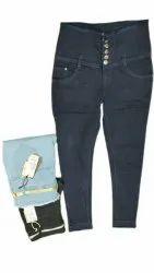Navy Blue Ladies Stretchable Regular Fit Denim Jeans