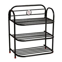 ASE Organiser 3 Shelf Black Shoe Rack, For Shoes, Size: 23.5*13.5*3.5 Inch