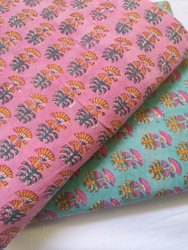Pink & Green Hand Block Cotton Printed Fabric
