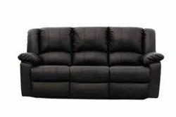 Black Modern 3 Seater Leather Sofa, Size: 5x2.5 Feet, 8 Inch