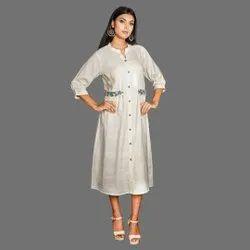 Natural Ladies Handloom Bamboo Cotton A Line Dress
