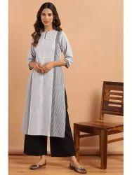 Janasya Women's White Cotton Kurta With Palazzo(J0137)