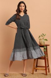 Janasya Women's Black Cotton Western Dress With Pocket(J0157)