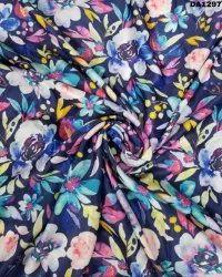 Flowery Semi Velvet Sateen Silk Digital Print Fabric