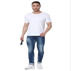 Hosiery Half Sleeve White Round Neck T-Shirt, Size: XS-XXL