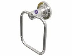 Silver Stainless Steel Square Towel Ring, For Bathroom