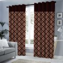 Hhf Brown Embroidered Silk Window Curtain, For Door, Size: 4 X 6 Feet