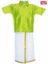 Wedding Wear Plain Boys Cotton Dhoti Shirt Set, Size: 1-10