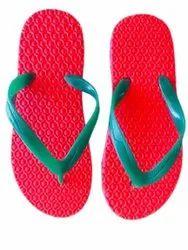 Daily Wear Ladies Red Rubber Slipper, Design/Pattern: Plain, Size: 5