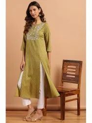 Janasya Women's Green Rayon Kurta With Pant (J0143)