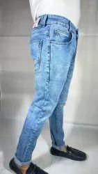 Casual Wear Plain Men Light Blue Jeans, Size: 28inch