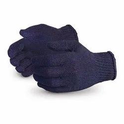 蓝色棉针织手套,10,尺寸:免费