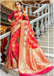 Wedding Wear Plain Pure Silk Saree, 6.3 M (with Blouse Piece)