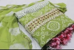 Printed  Green Cotton Fabric Suit