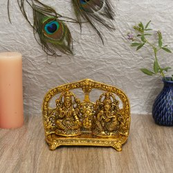 Aluminium Gold Plated Laxmi Ganesh Frame