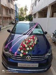 pink & White Wedding Car Decoration, Bangalore