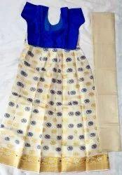 Cream Ethnic Wear Kerala Tissue Dhavani Set Aka Lehenga Choli