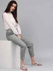Regular Fit Women Dark Grey Pure Cotton Trousers