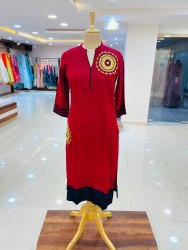 Ladies Rayon Red Kurti, Hand Wash, Size: Small