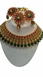 LCT Red Green Necklace Set, Occasion: Wedding