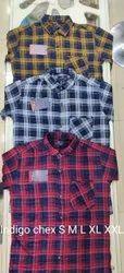 Tog 11 Checks Men Indigo Chex Shirt, Handwash, Size: S-xxl