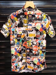 Polyester Collar Neck Men Digital Printed Shirt, Size: 40