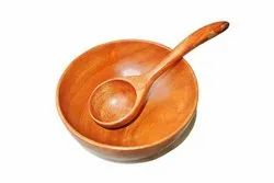 Tora Neem Wood Soup Bowl With Soup Spoon Set Of 2 Eco-friendly  Natural  250ml Bowl