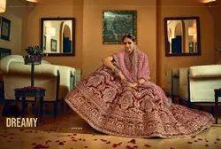 Wine Red Bridal Velvet Lehenga Choli With Embroidery & Hand Work