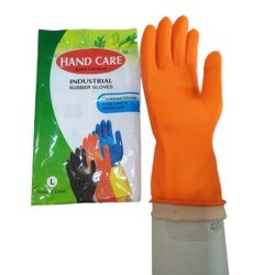 Rubber Orange Chemical Resistance Safety Gloves, Size: Large, Model Name/Number: Extra Comfort