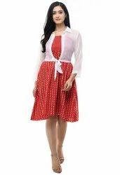 Women's Printed Stylish Dress Red