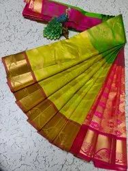 Zari woven Green and Pink Party Wear salem Silk Saree, 6.3 m (with blouse piece)