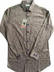 Urban Collar Neck Men Printed Formal Cotton Shirt, Machine wash