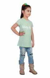 Dalsi Half Sleeve Girls Casual Wear T Shirt, Size: 30