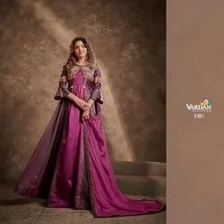 Silk With Heavy Embroidery Fancy Gown