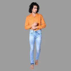 Denim Faded Men Ice Blue Slim Fit Jeans, Waist Size: 28 Inch