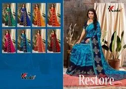 Kodas Fancy Printed Sarees With Lace Border, Handwash, 6 M (with Blouse Piece)