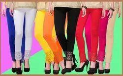 SwaNit Viscos Lycra Lace Leggings, Size: Free Size