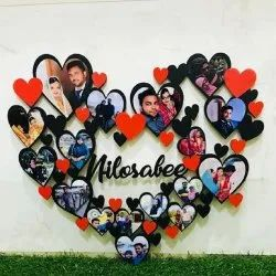 Wooden Black Heart Shaped Photo Collage Frame, For Home