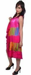 Pink Ladies Rayon Maxi Umbrella Dress, Size: Free Size