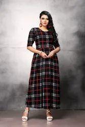 Ladies Black Check Poly Crepe Long Dress