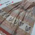 Bagru Hand Block Printed Pure Chanderi Silk Saree.