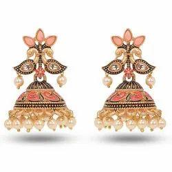 Meena Jhumki Pink,Golden Women Handmade Jhumka Earring, Size: 3 Inch ( Length)
