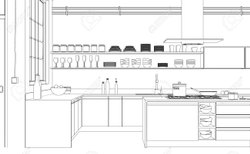 3D Kitchen Interior Drawing Service