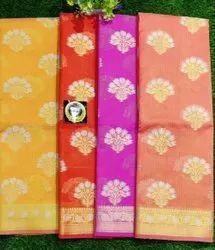 Printed Kota Check Cotton Alfi Jari Buta Saree, Without Blouse Piece, 6 m (with blouse piece)