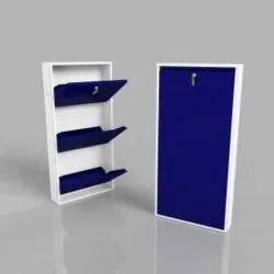 Home Texa Mild Steel Blue 3 Door Shoe Rack., For Home,Hotels, Size: 142 X 58 X 20 Cm