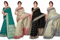 6.3m Printed Ladies Paatan Premium Weaving Silk Saree, With Blouse Piece