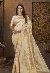 GOLD Party Wear Beautiful Art Silk Jacquard Border Saree, 0.80, 5.5 m (separate blouse piece)