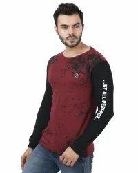 Printed Samsa Mens Full Sleeve Cotton T Shirt, Size: Medium