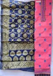 4 Colours Cotton Unstitched Dress Materials with Banarasi Cotton Dupatta, For Traditional Wear